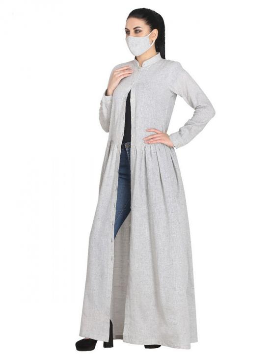 Cotton Made Designer Dress With Full Sleeves In Light Grey
