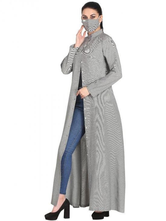 Cotton Front Open Abaya With Side Pockets In Light Grey