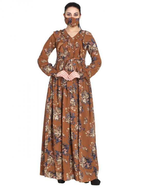 Georgette Modest Dress And Shantoon Lining With Elasticated Sleeves In Multi