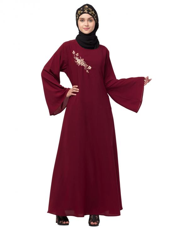 Nida Matte Abaya With Side Resham Embroidery Bell Sleeve In Maroon