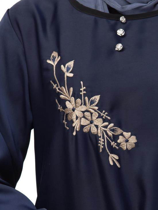 Premium Shine Nida Abaya With Side Embroidery Contrast Piping In Navy Blue