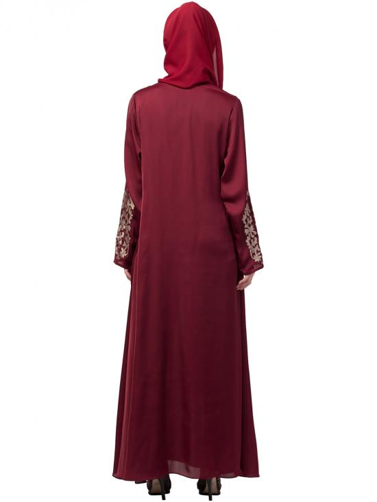 Nida Matte Abaya With Front And Sleeve Resham Embroidered In Maroon And Gold