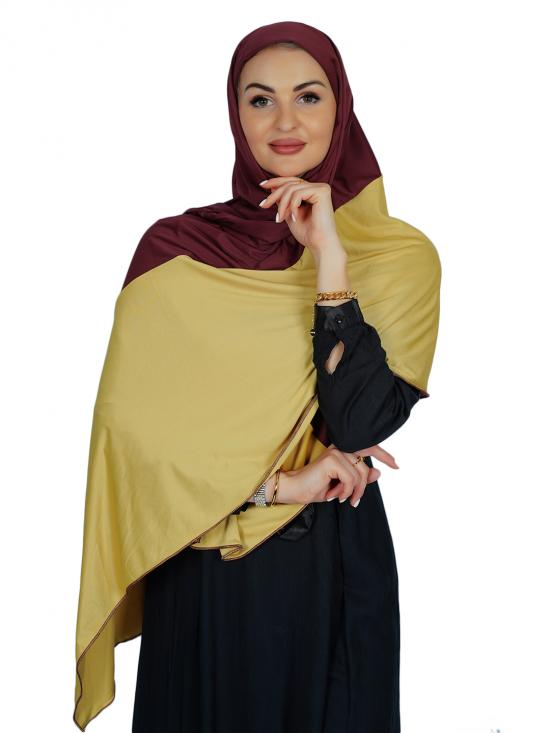 Lycra Double Shade Stole In Dark Maroon And Gold