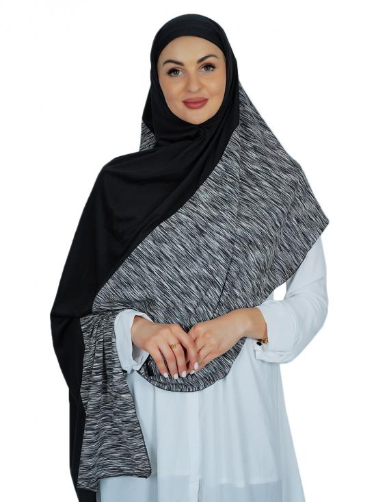 100% Polyester Lycra Double Shade Stole In Black And Multi