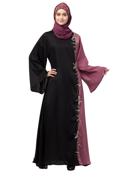 Premium Shine Nida Abaya With Contrast Front And Sleeve Hand Work In Black And Mauve Pink