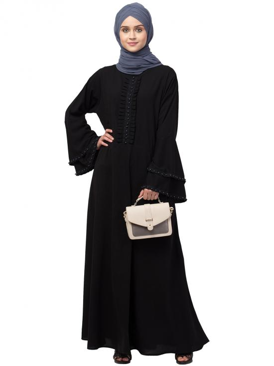 Nida Matte Abaya With Pleats And Beads Work With Bell Sleeve In Black