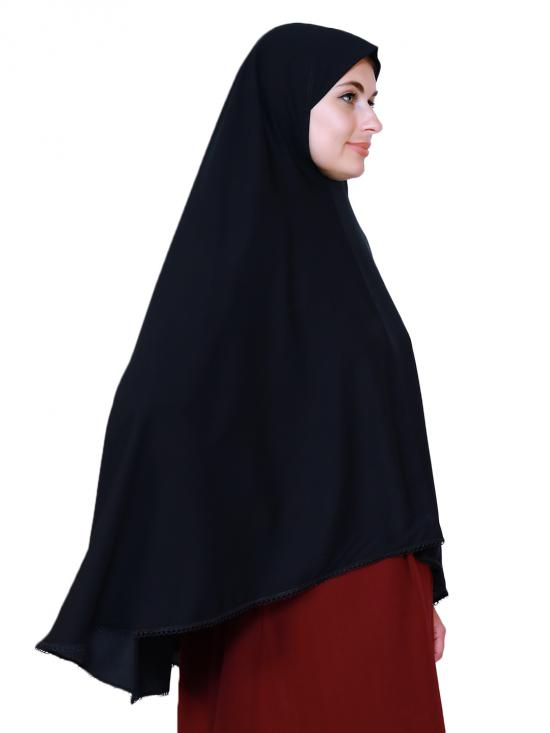 Salafi Plain Nida Matte Instant Hijab With Lace Work In Black