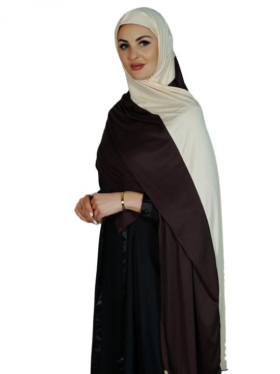 Lycra Double Shade Stole In Coffee And Cream