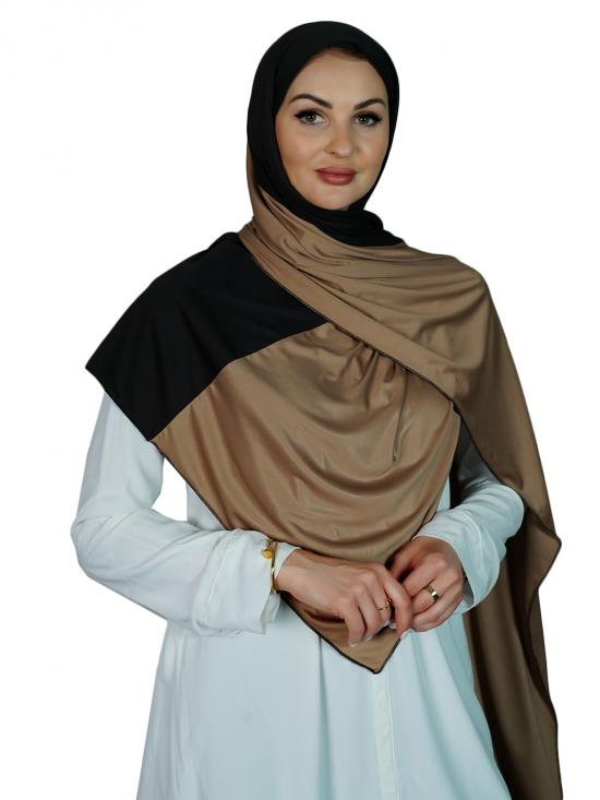 Lycra Double Shade Stole In Black And Beige