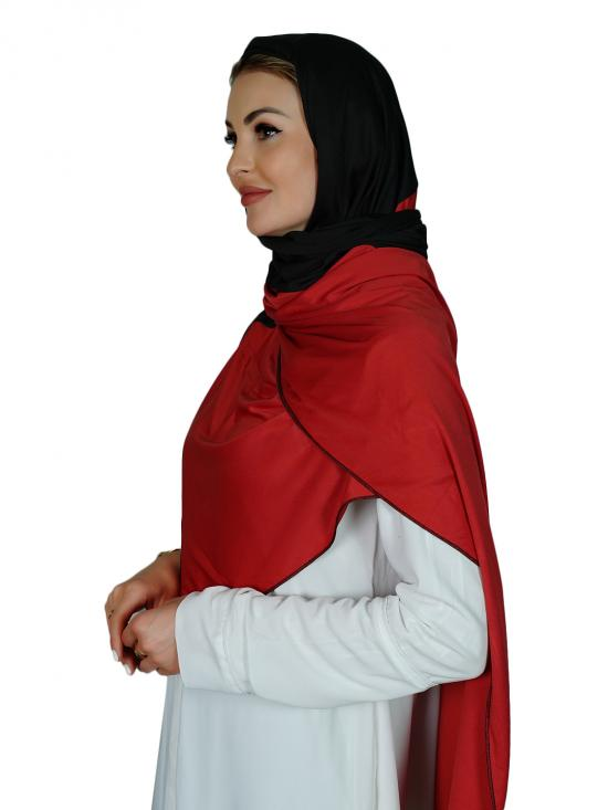 Lycra Double Shade Stole In Black And Red