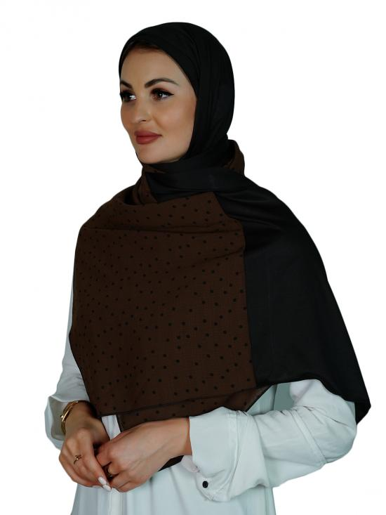 Double Shaded Stole With Polka Dots In Dark Brown And Black