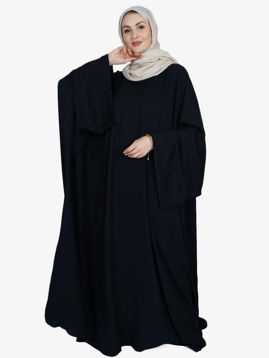 Nida Matte Free Size Abaya With Crsystal Work On Sleeve Bottom In Black