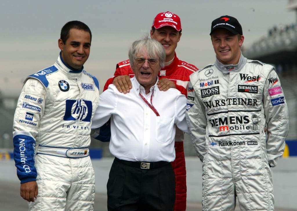 Juan Pablo Montoya Michael Schumacher Kimi Raikkonen Bernie Ecclestone F1