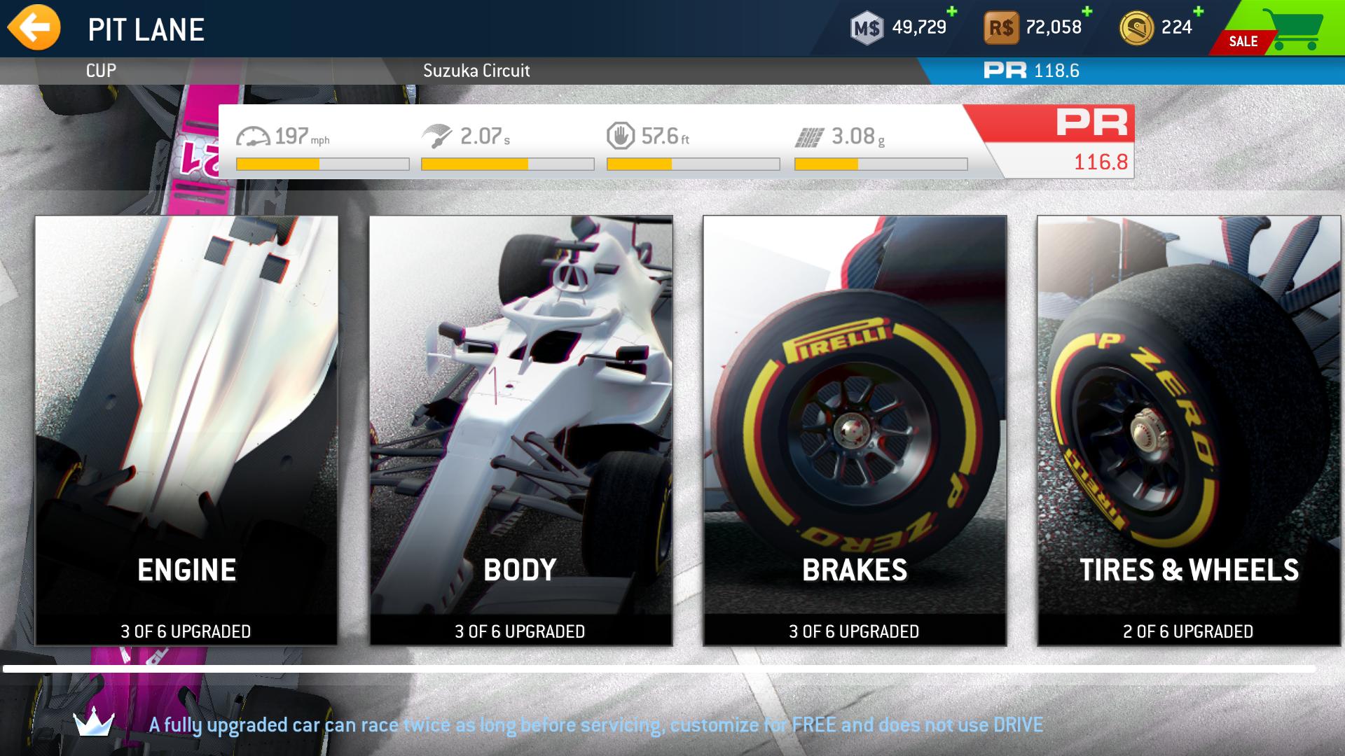 Real Racing 3 F1 Esports Car Upgrade Pic
