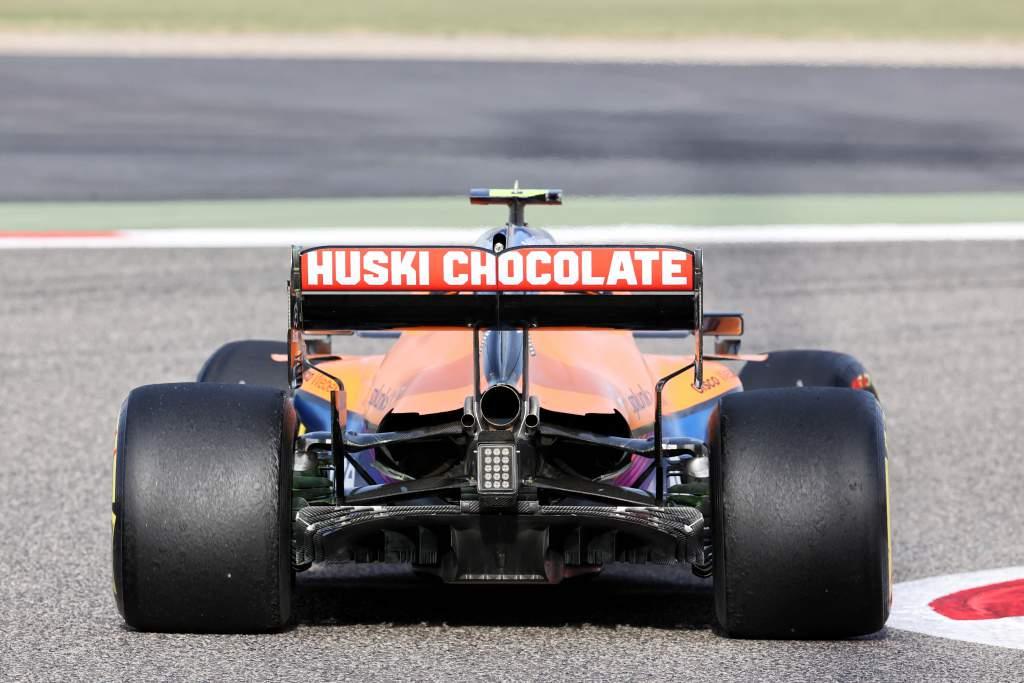 Lando Norris McLaren Bahrain F1 testing 2021 rear diffuser