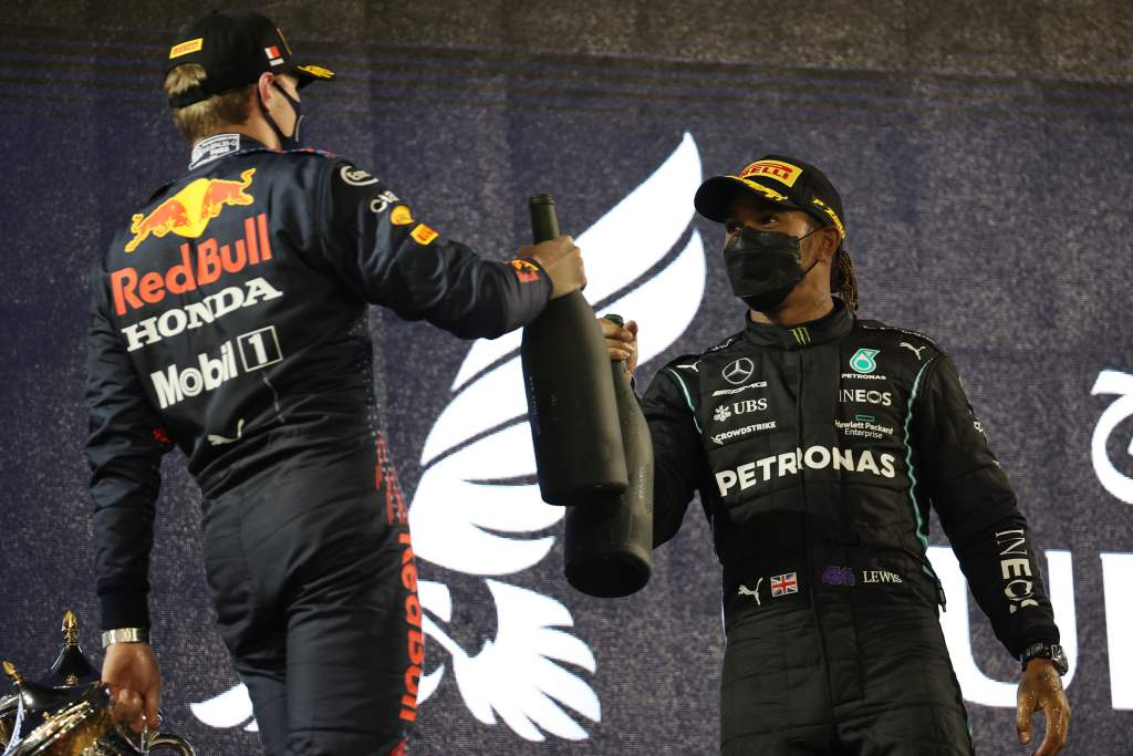 Lewis Hamilton Mercedes Max Verstappen Red Bull Bahrain GP F1