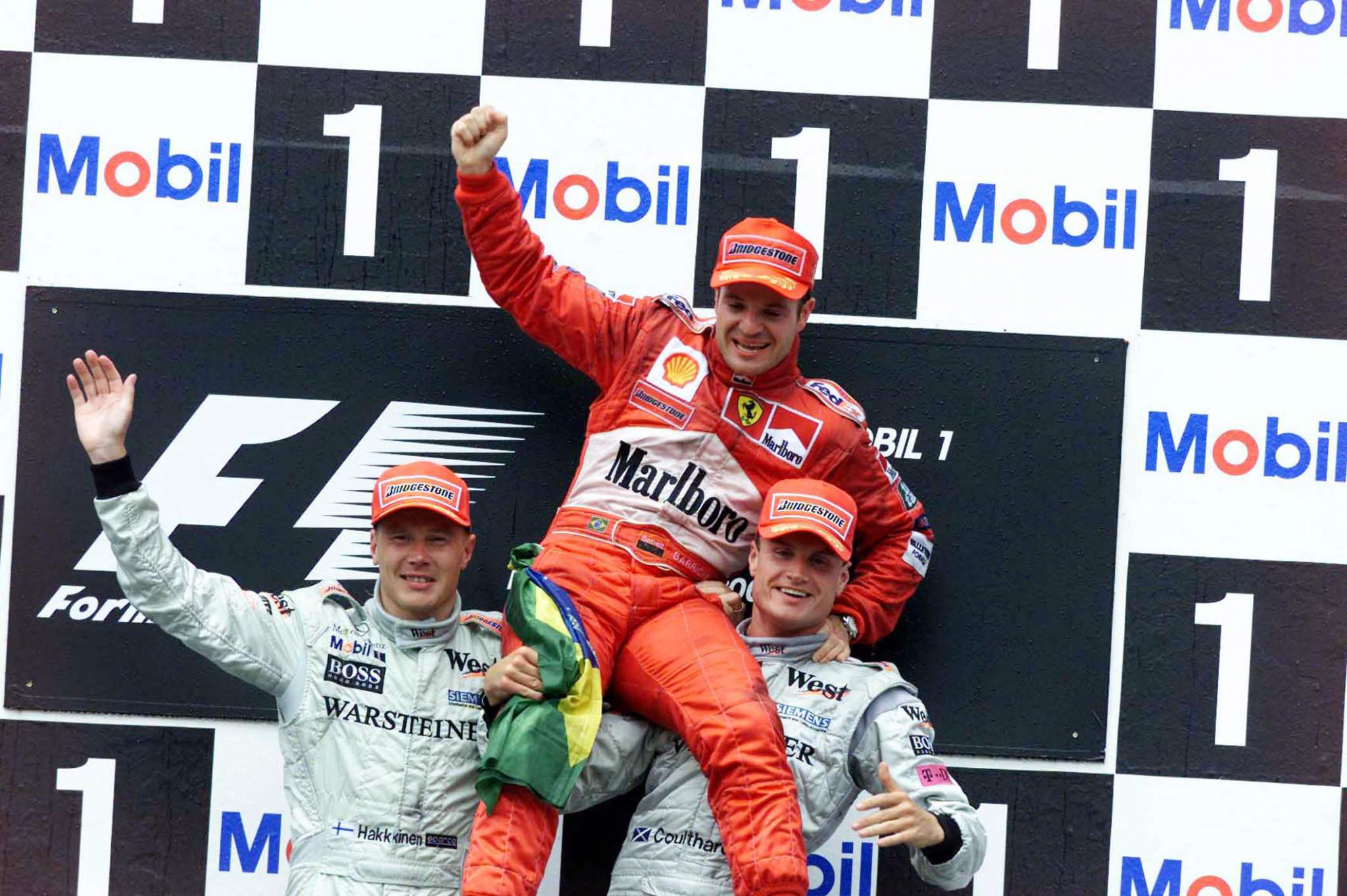Mika Hakkinen, Mclaren, Rubens Barrichello, Ferrari Und David Coulthard, Ferrari Heute Auf Dem Podium In Hockenheim