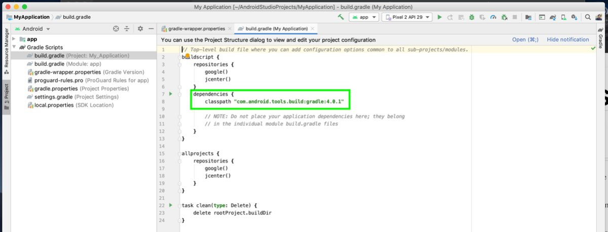 Gradle version in Project dependencies