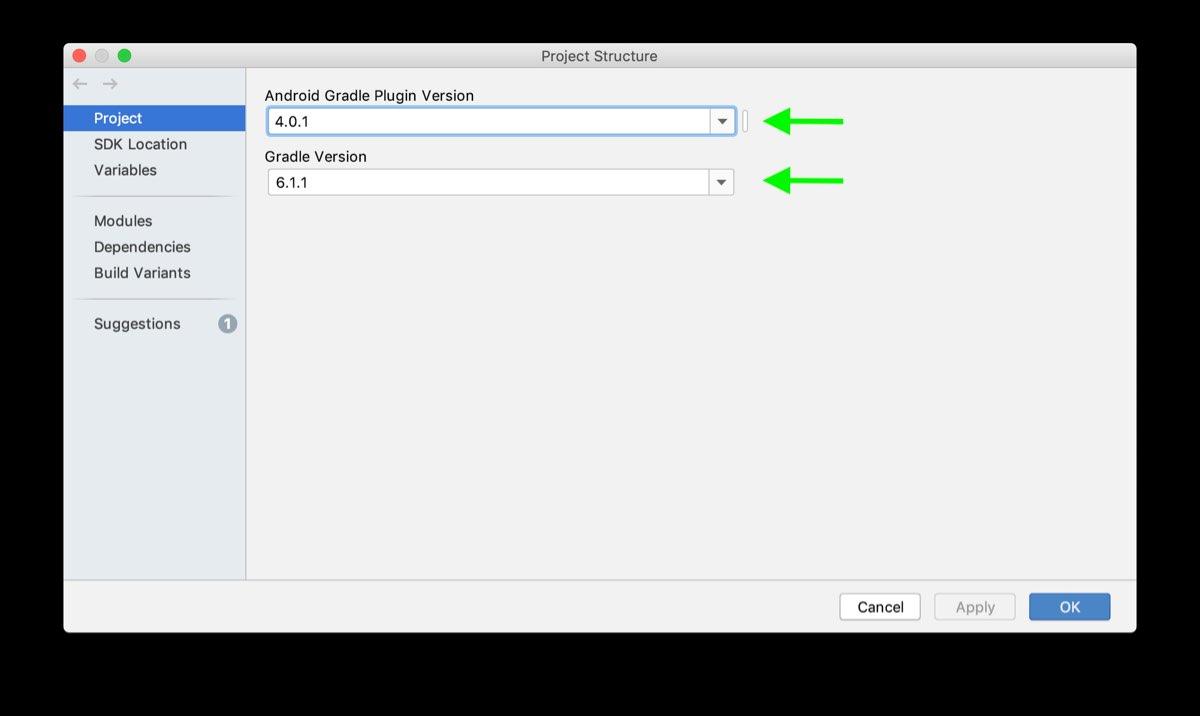 Gradle Plugin version in Project structure