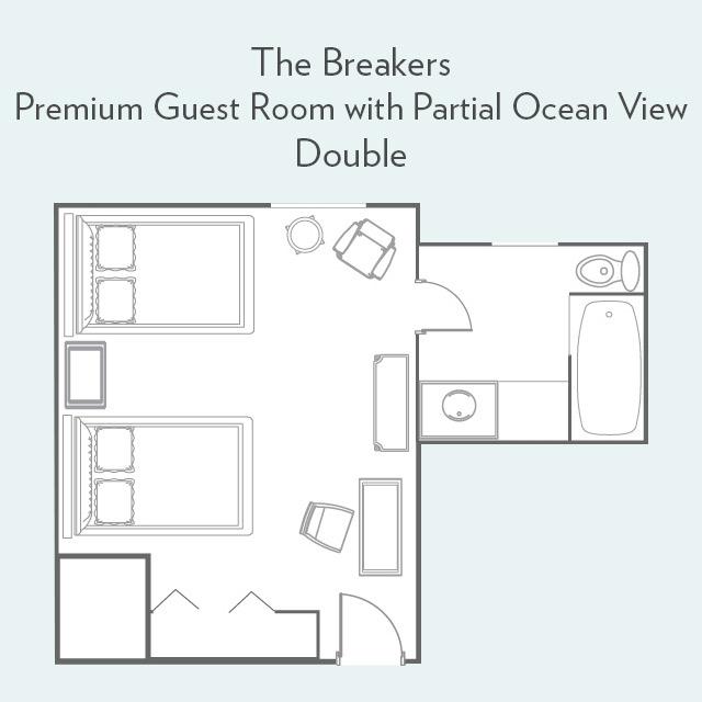 Premium Guest Room double bed floor plan