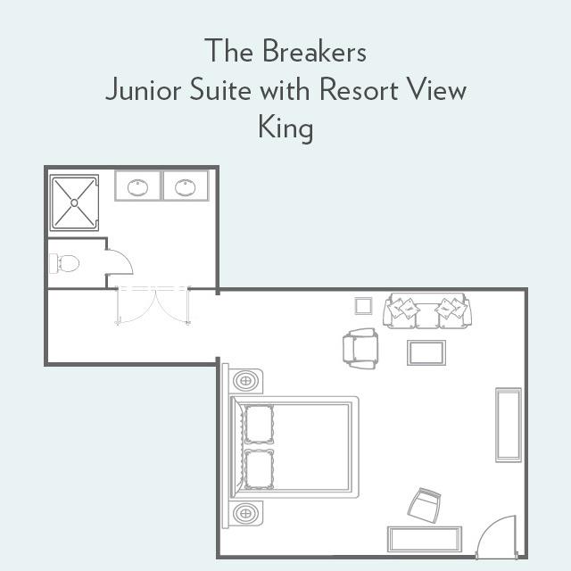 Junior Suite king bed floor plan