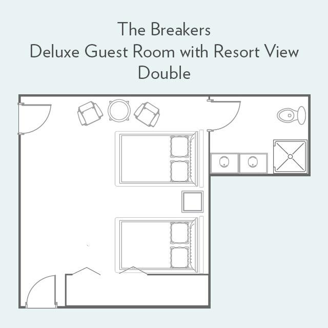Deluxe Guest Room with Resort View double bed floor plan