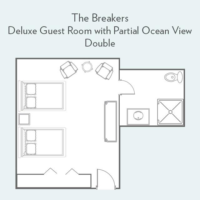 Deluxe Guest Room with Partial Ocean View double bed floor plan