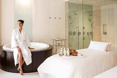 Woman in spa suite