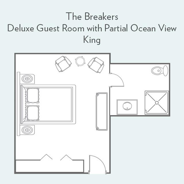 Deluxe Guest Room with Partial Ocean View king bed floor plan