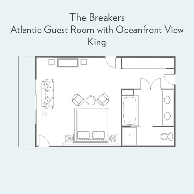 Atlantic Guest Room king bed floor plan