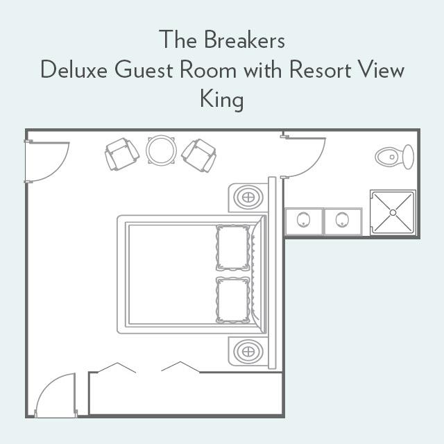 Deluxe Guest Room with Resort View king bed floor plan