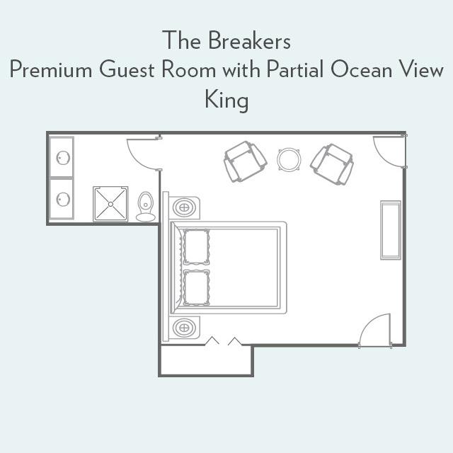 Premium Guest Room king bed floorplan