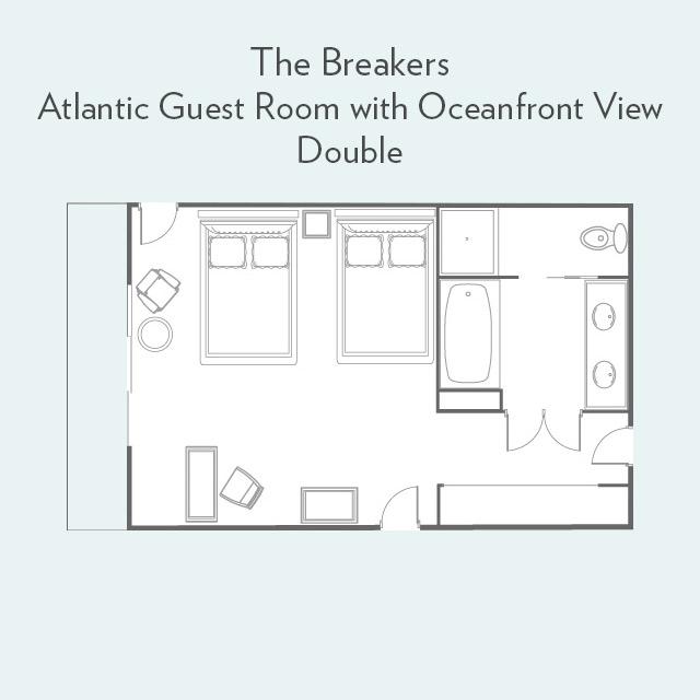 Atlantic Guest Room double bed floor plan