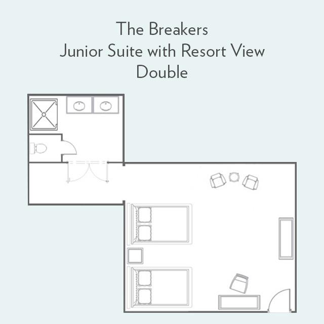 Junior Suite double bed floor plan
