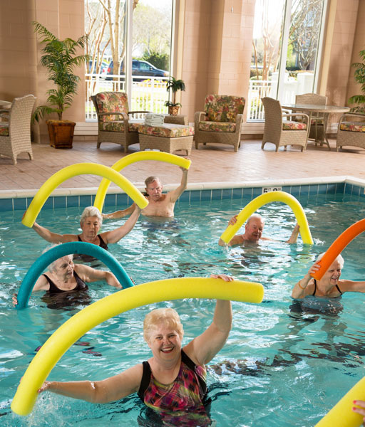 water aerobics part of the wellness program at the community center