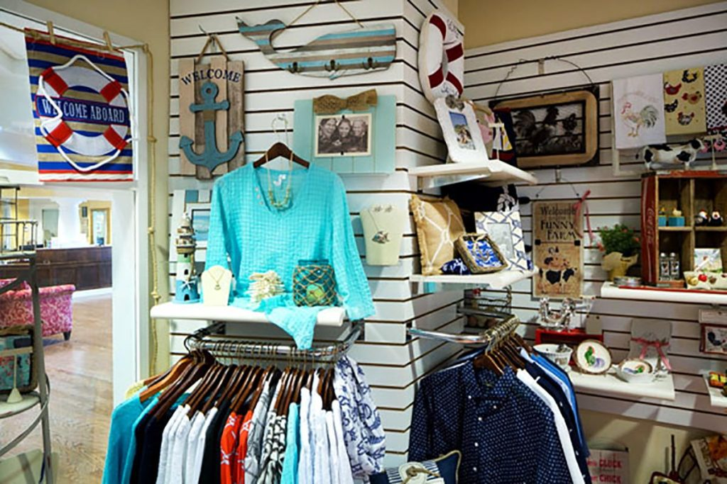 clothing display at the gift shop