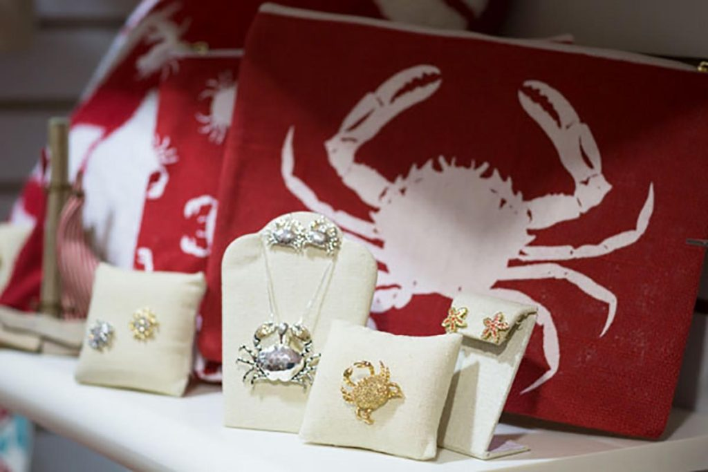 crab jewelry available at the community gift shop