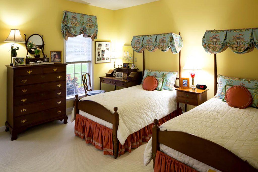 Interior view of senior apartment bedroom