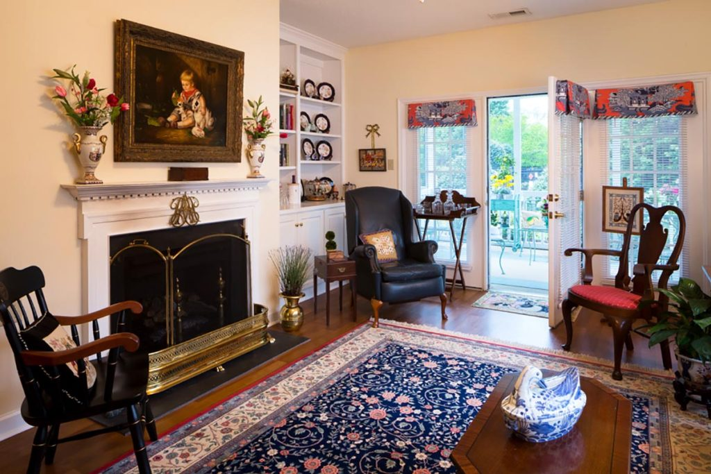 Senior apartment with a fireplace