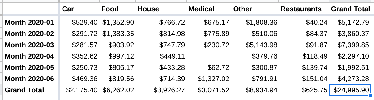 January to June 2020 expenses