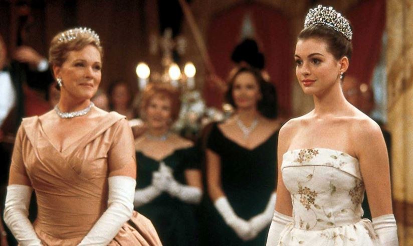 Mia Thermopolis stands next to her grandmother at the princess ball where she was just crowned Princess of Genovia.