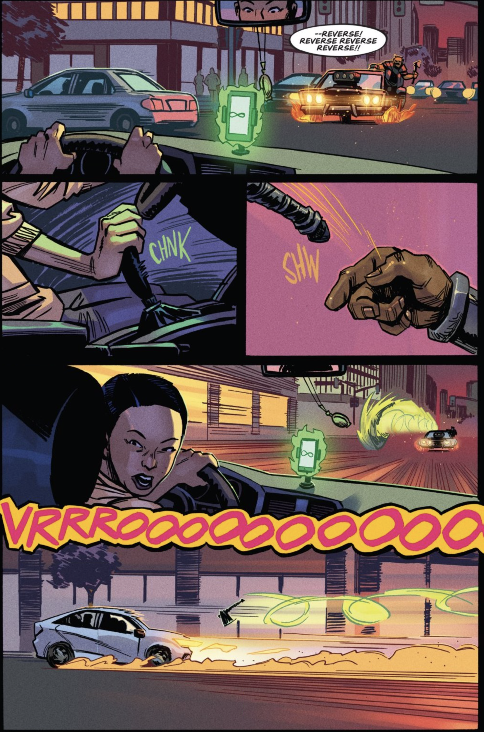 Page of AFTERLIFT with a demon in a muscle car speeding at Janice.  She puts the car in reverse as the demon throws an enchanted axe at the car.