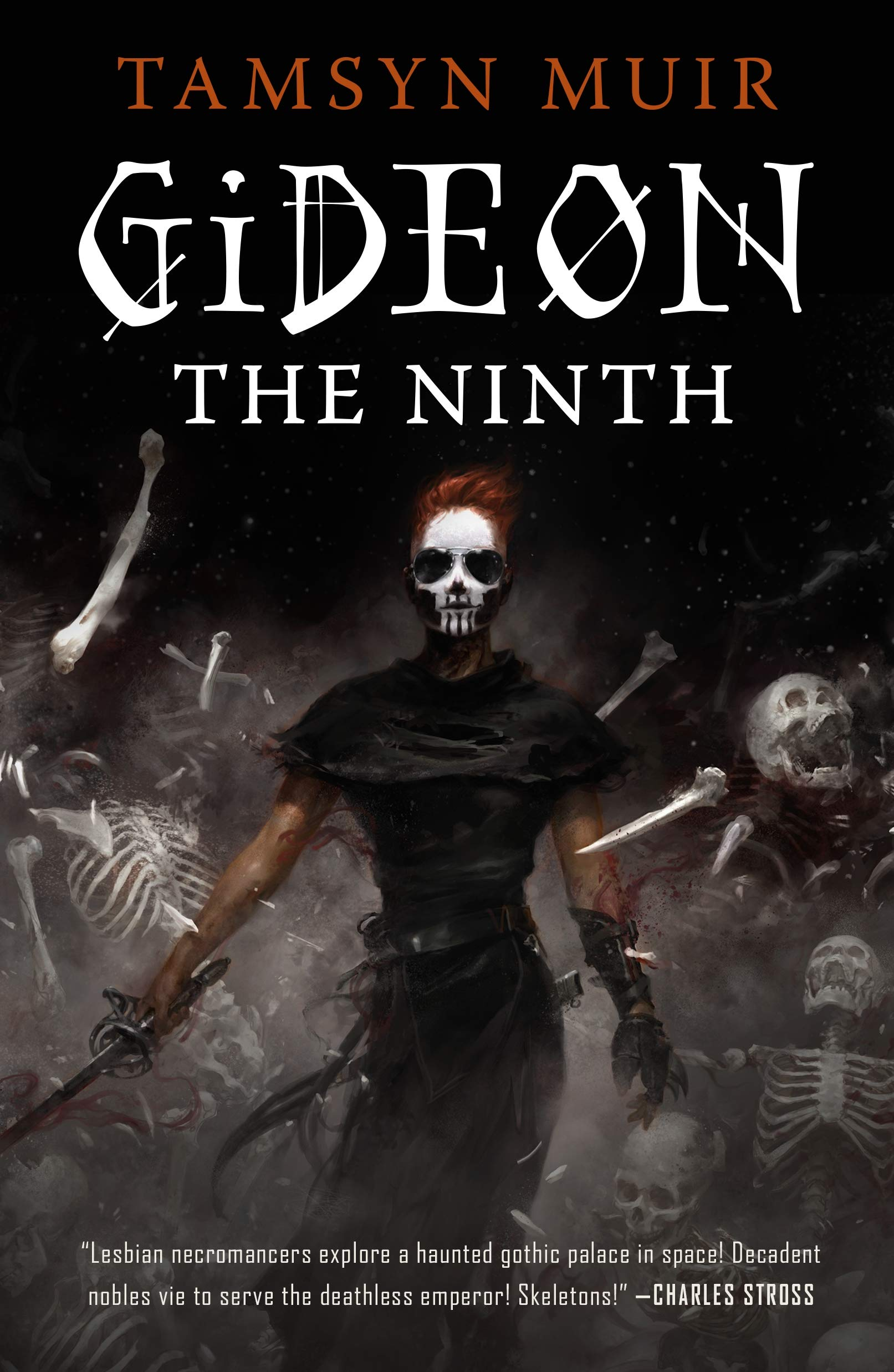 """Escaping The Screen"" -- The cover of Tamsyn Muirs book Gideon The Ninth about two necromancers trying to escape death."