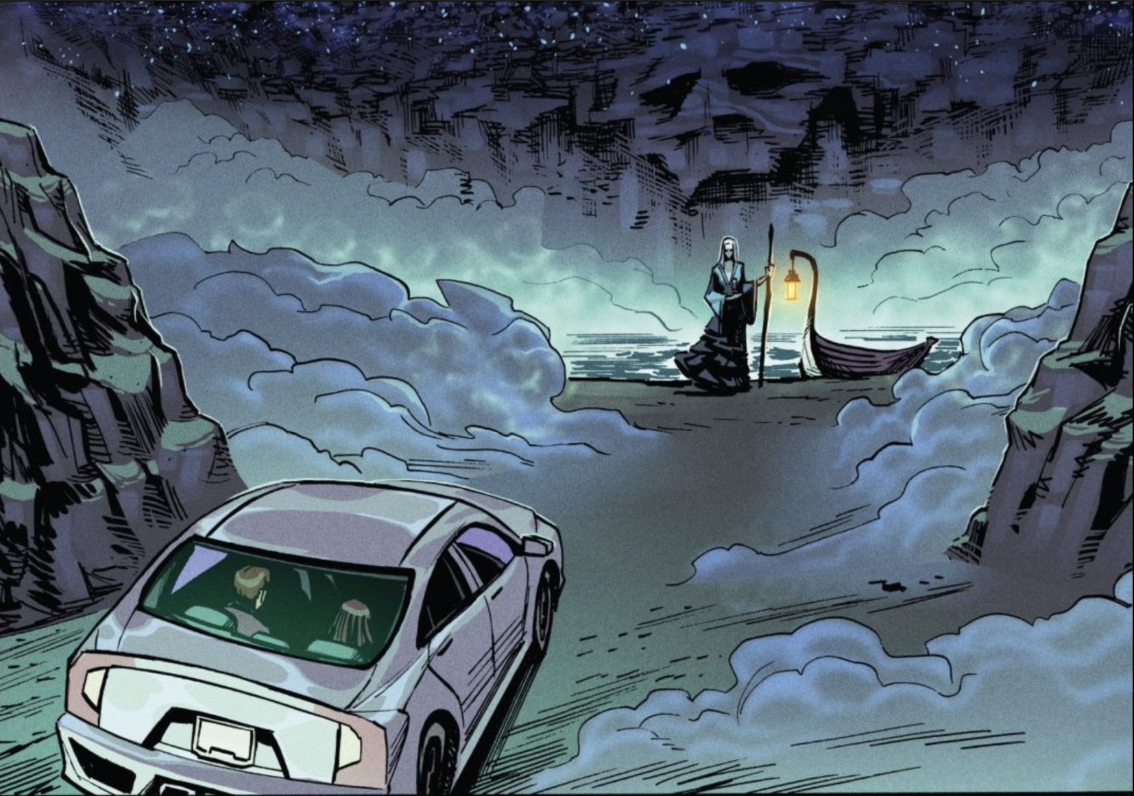 Janice's car approaching a reaper-like figure with a gondola in purgatory.