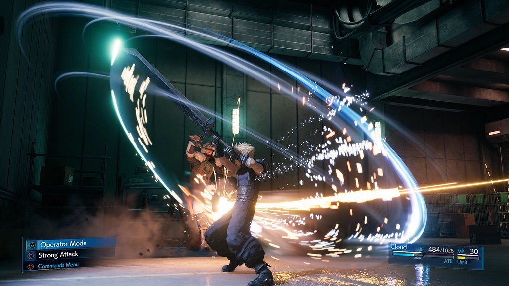 Screenshot showcasing the new combat system within Final Fantasy 7