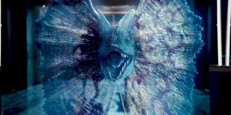 Jurassic World's hologram display of a dilophosaurus spreading its frills.