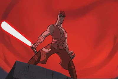 Anakin stands triumphant after defeating Asajj Ventress.