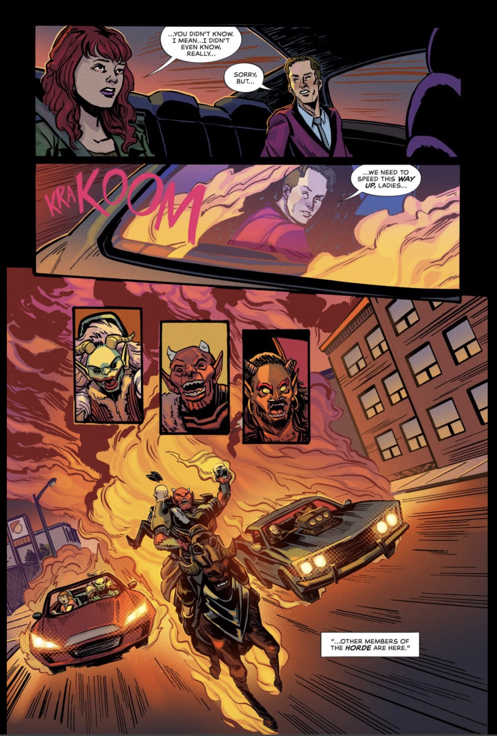 AFTERLIFT page 20, depicting Dumu, Janice, and Suzanna drilling away from demons charing at them with fire.  One demon is on horseback, the rest in two cars.