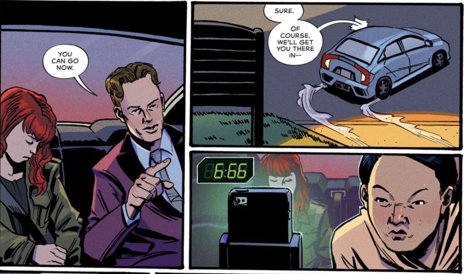A few panels from AFTERLIFT.  Dumu tells Janice she can drive away.  Janice checks her phone app to see the estimated time it will take to their destination.  The app's clock reads 6:66.