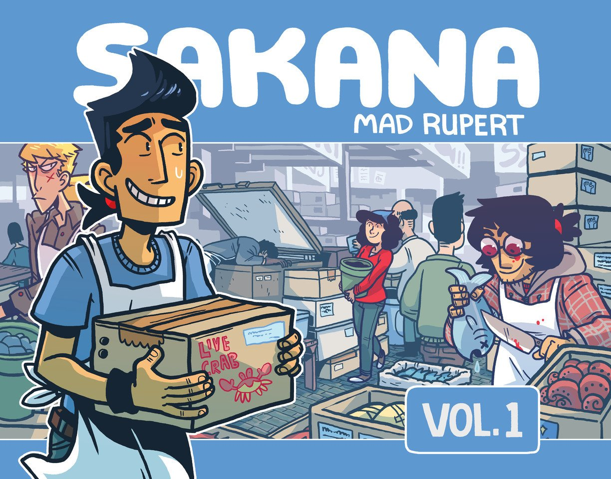 Cover of Sakana comic, depicting Jiro and the main cast working at a Japanese fish market to demonstrate why it would be relatable for fans of Steven Universe's Beach City episodes.